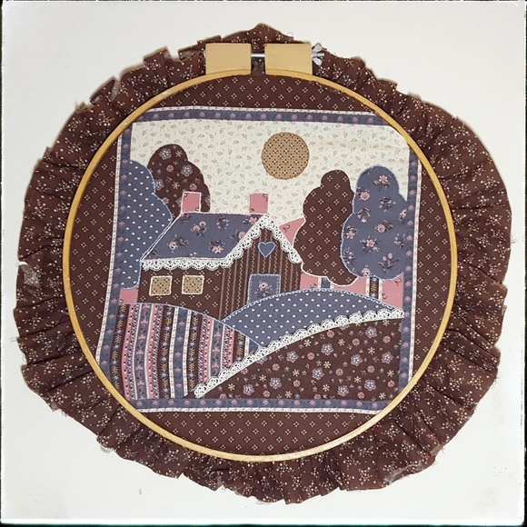 Vintage Other - Vintage farmhouse patchwork & embroidery hoop